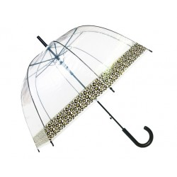Parapluie cloche transparent - bordure léopard
