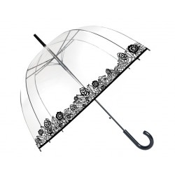 Parapluie transparent - bordure dentelles de rose