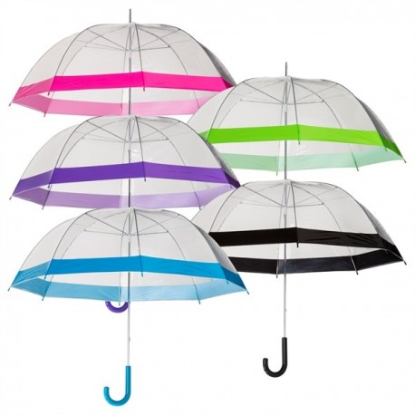 Parapluie transparent enfants - bordure colorée