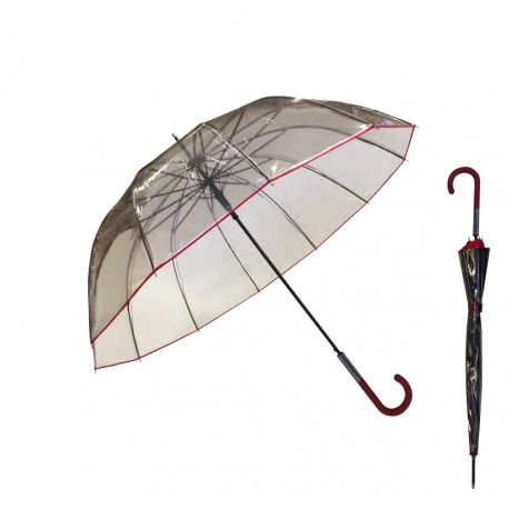 Parapluie noir transparent So Chic - liseré et manche rouges