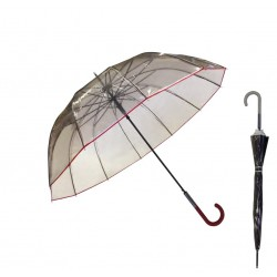 Parapluie noir transparent So Chic - liseré et manche blancs