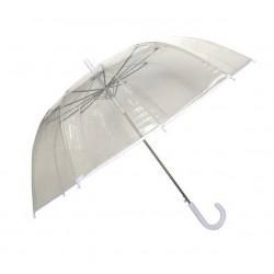 Grand parapluie transparent - bordure et manche blancs