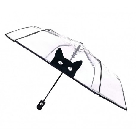 Parapluie transparent pliant motif chat