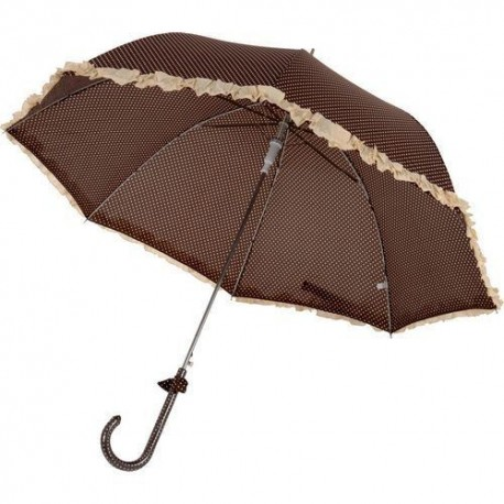 Parapluie long marron et blanc