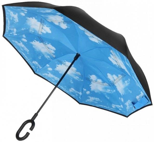 Un parapluie inversé et résistant au vent (réf.: VPFLEUR18-BLEU)